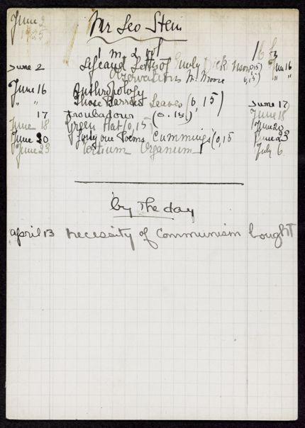Leo Stein 1925 card