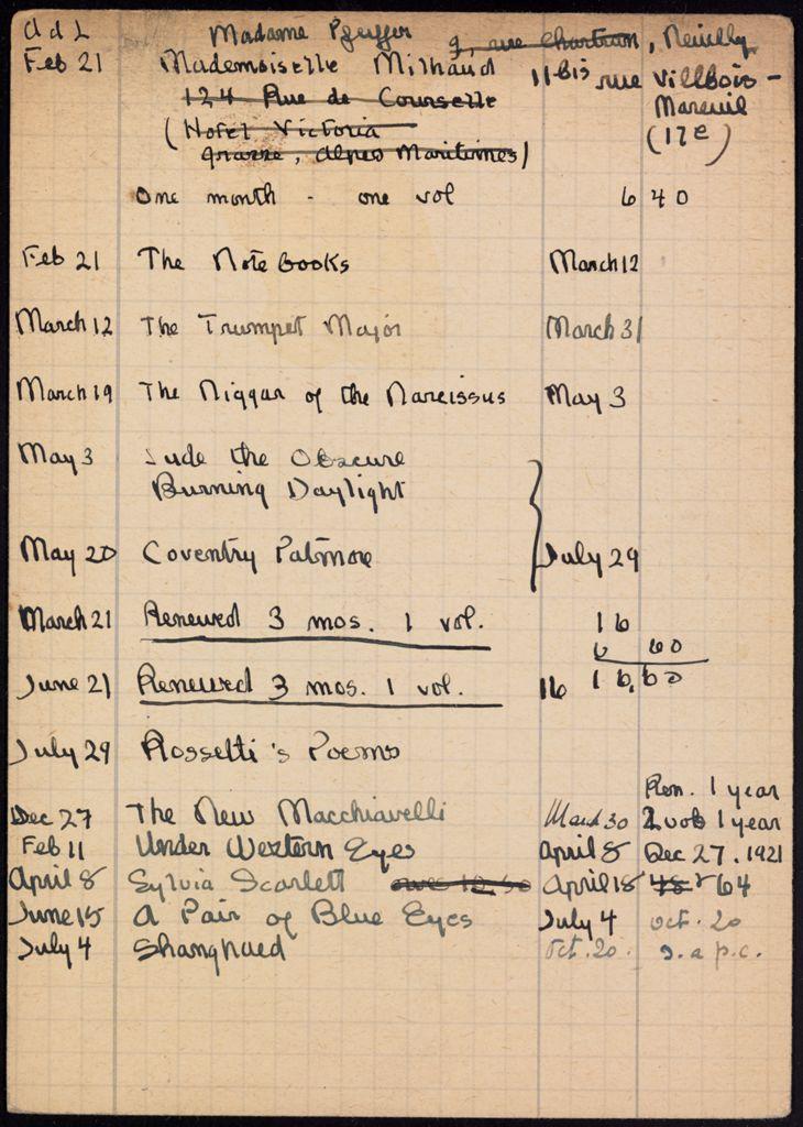 Madeleine Milhaud 1921 – 1922 card (large view)