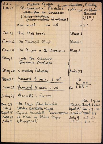 Madeleine Milhaud 1921 – 1922 card