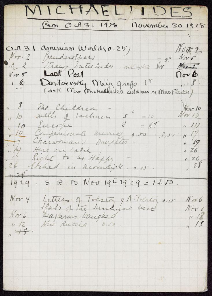 Mme L. Michaelides 1928 – 1929 card (large view)