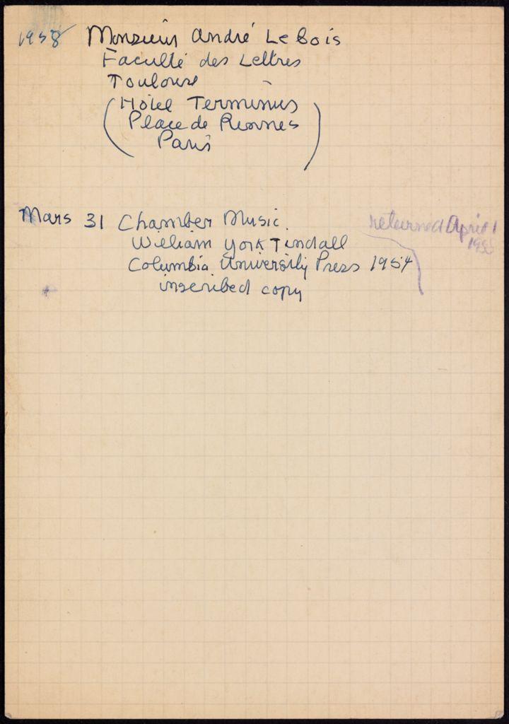 André Lebois 1958 card (large view)