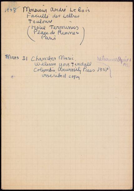 André Lebois 1958 card