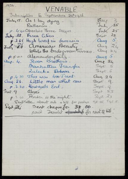 E. C. Venable 1936 card