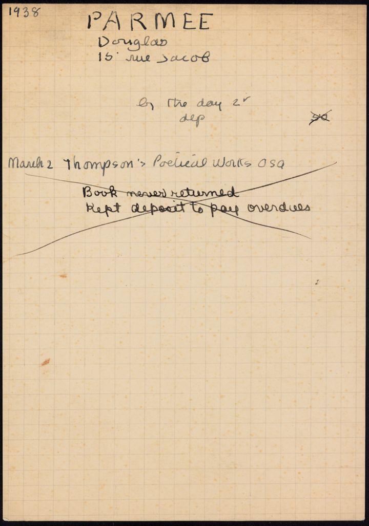 Douglas Parmée 1938 card (large view)