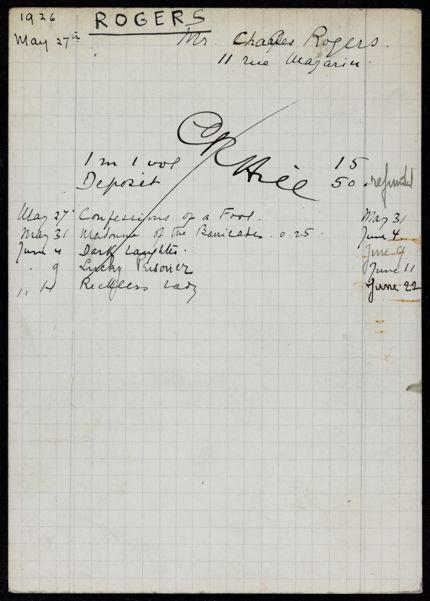Charles Rogers 1926 card
