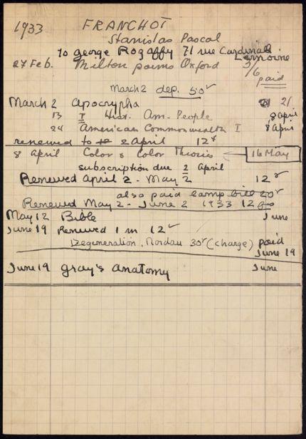 Stanislas Pascal Franchot 1933 card