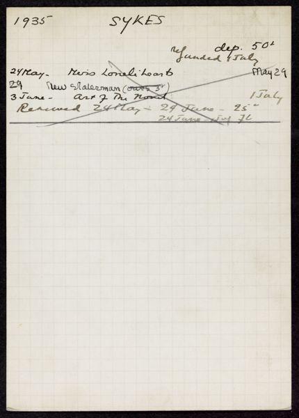Christopher Sykes 1935 card
