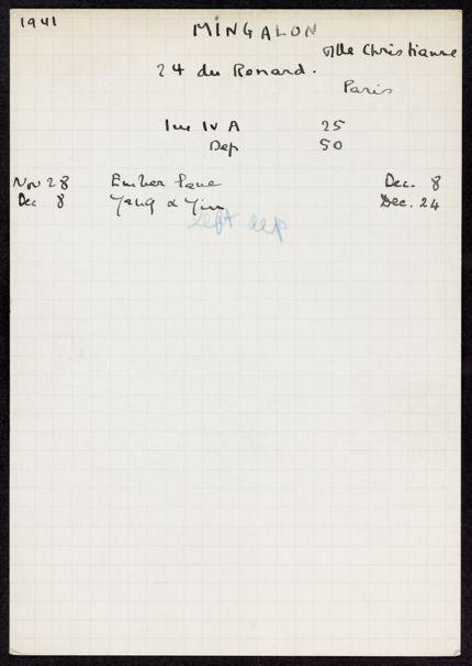 Christianne Mingalon 1941 card