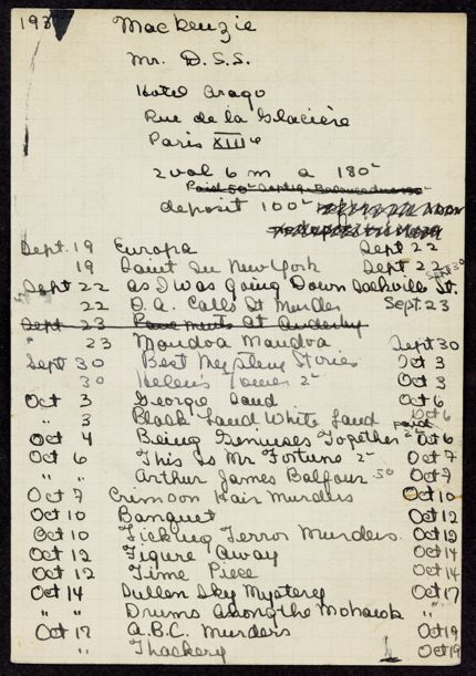 D. S. S. Mackenzie 1938 – 1939 card