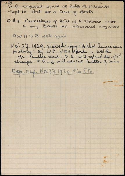 H. M. Butler Blank card