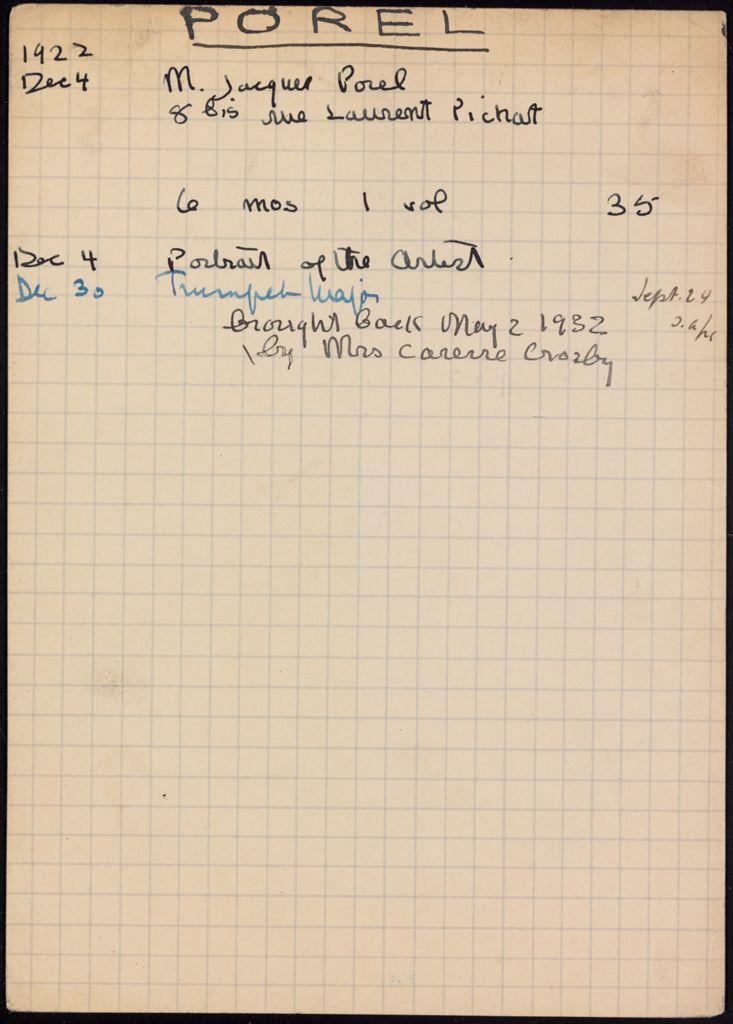 Jacques Porel 1922 – 1932 card (large view)