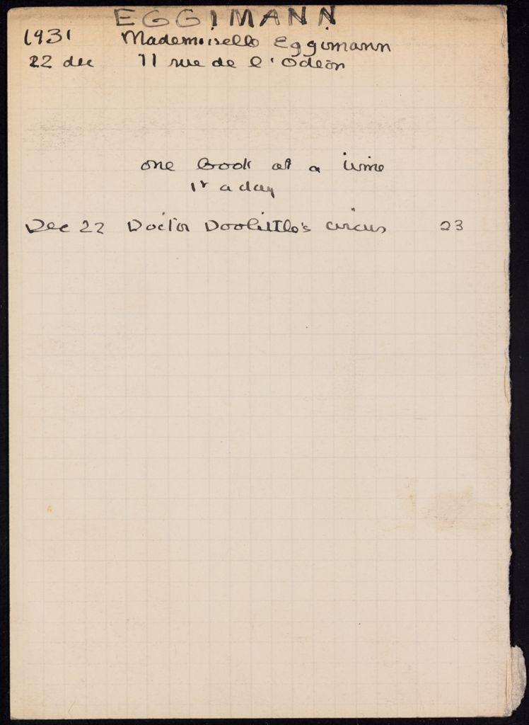 Adele Bouvier Eggimann 1931 card (large view)