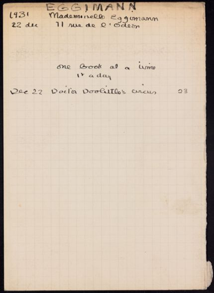 Adele Bouvier Eggimann 1931 card