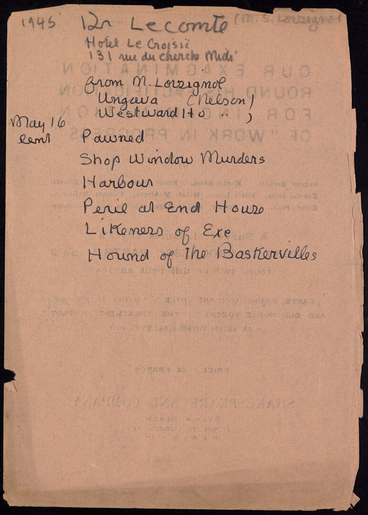 Dr. Lecomte 1945 card (large view)