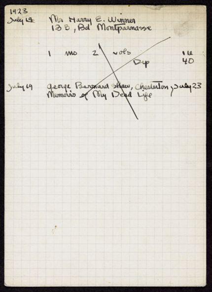 Harry E. Winner 1923 card