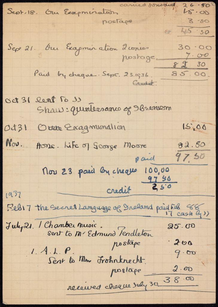 James Joyce 1936 – 1937 card (large view)