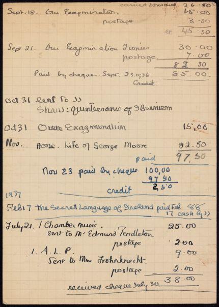 James Joyce 1936 – 1937 card