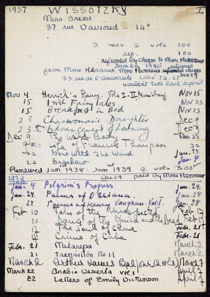 Irene Wissotzky 1937 – 1939 card