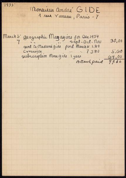 André Gide 1935 card