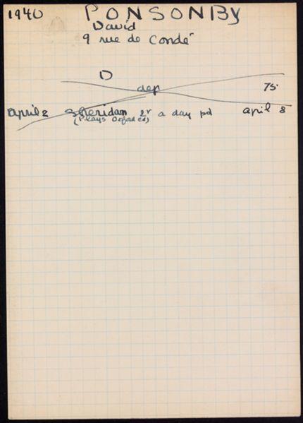 David Ponsonby 1940 card