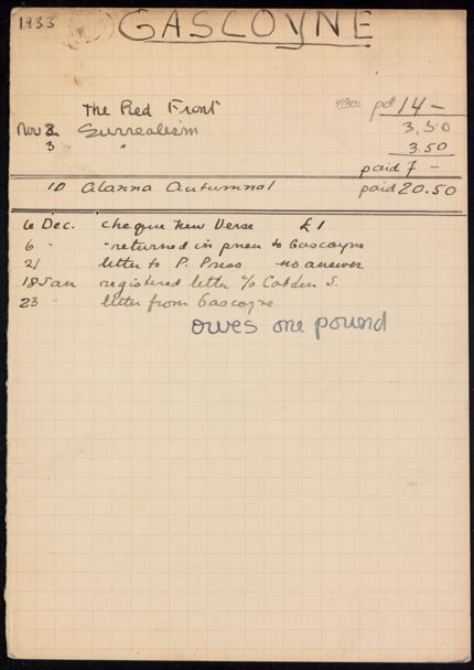 David Gascoyne 1933 card