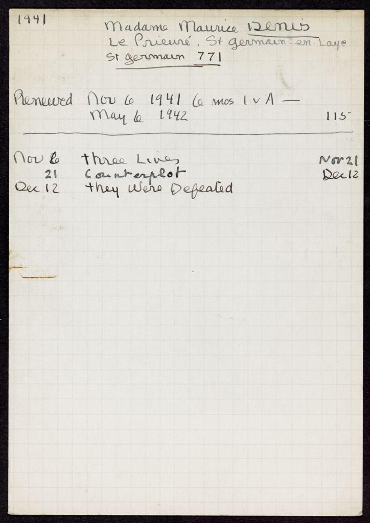 Elisabeth Denis-Graterolle 1941 – 1942 card (large view)