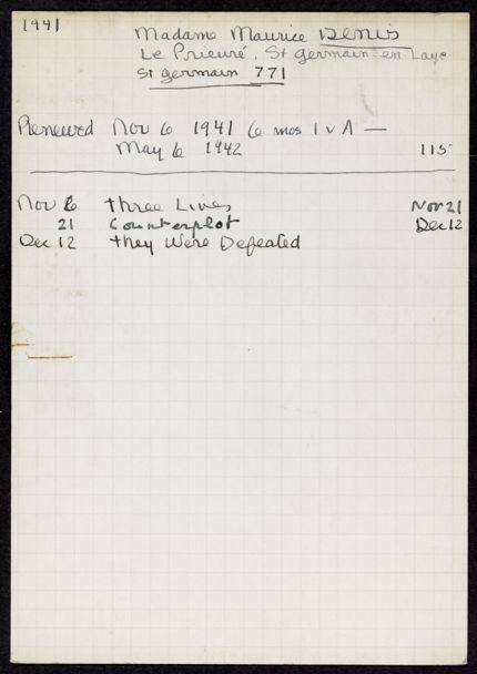 Elisabeth Denis-Graterolle 1941 – 1942 card