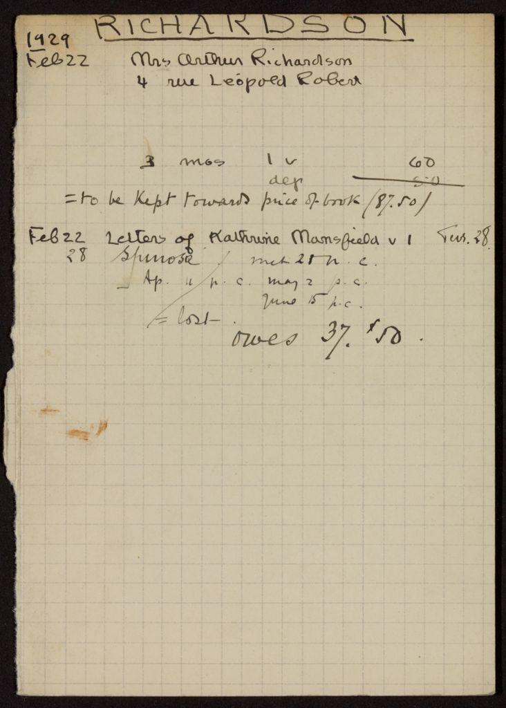 Arthur W. Richardson 1929 card (large view)