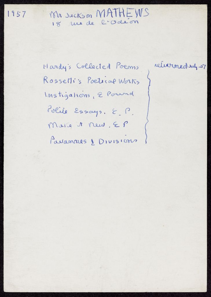 Jackson Mathews 1957 card (large view)