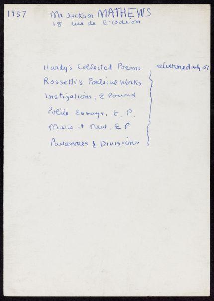 Jackson Mathews 1957 card