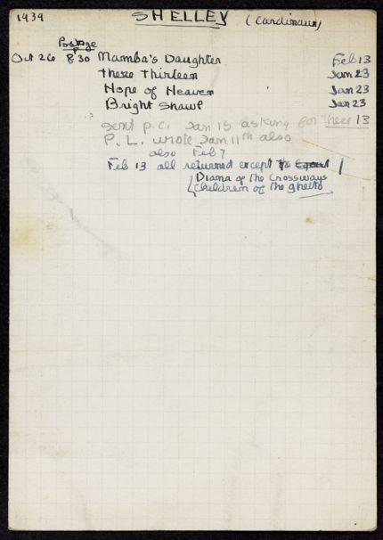 Dorothy Shelley 1939 – 1940 card