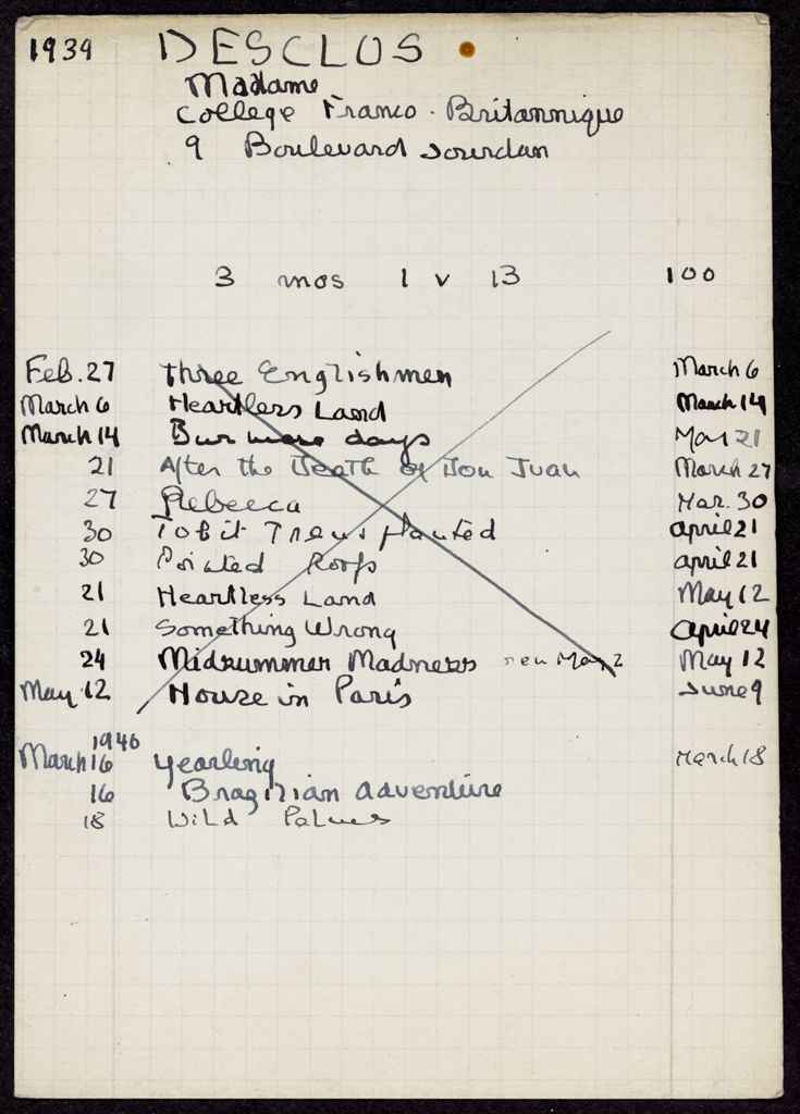 Anne Desclos 1939 – 1946 card (large view)
