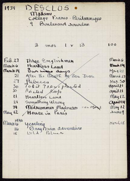 Anne Desclos 1939 – 1946 card