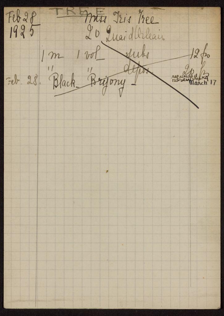 Iris Tree 1925 card (large view)