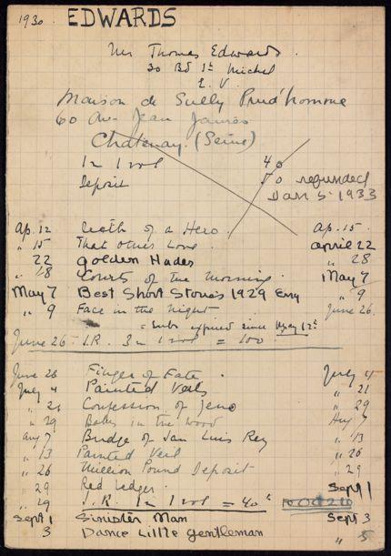 Thomas Edwards 1930 – 1933 card