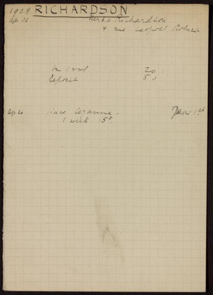 Arthur W. Richardson 1929 card