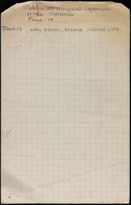 Marguerite Cazamian 1944 card