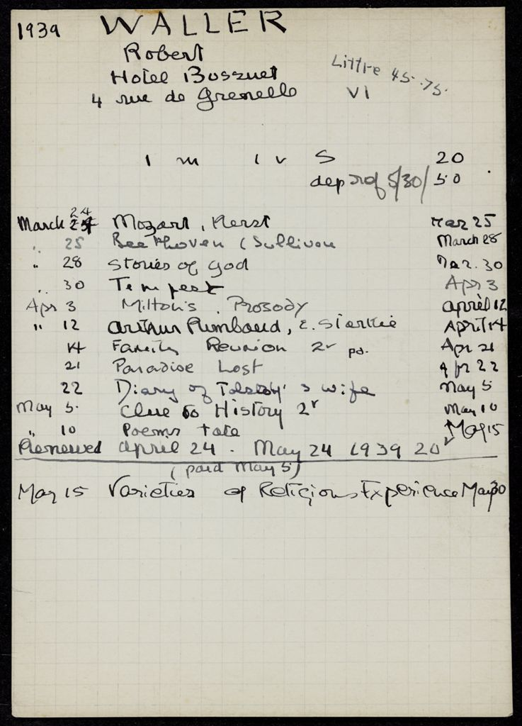 Robert Waller 1939 card (large view)