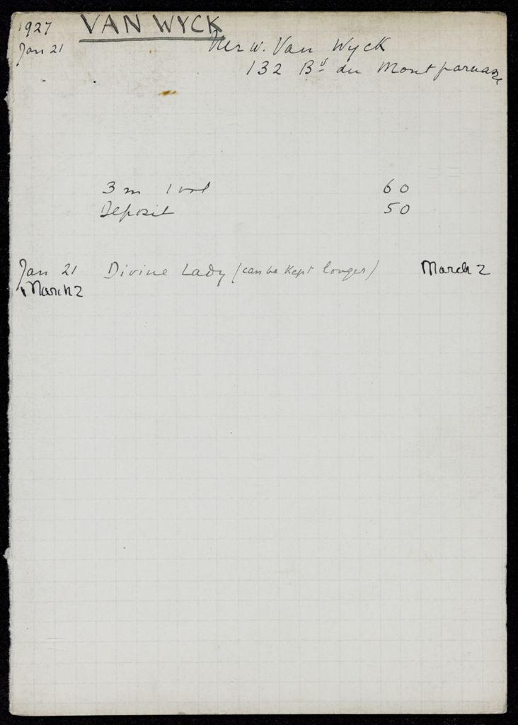 William van Wyck 1927 card (large view)