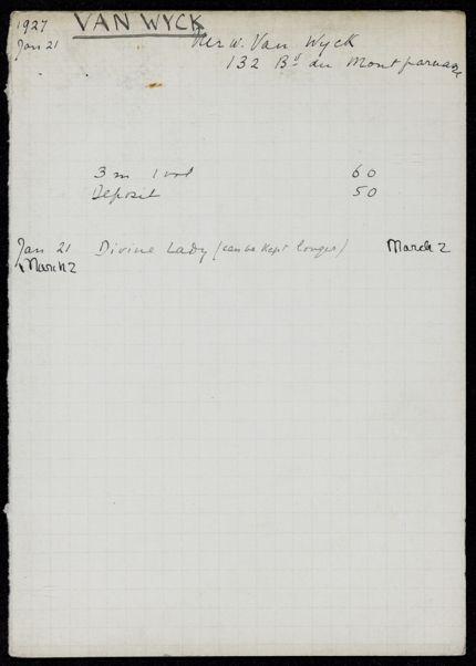 William van Wyck 1927 card
