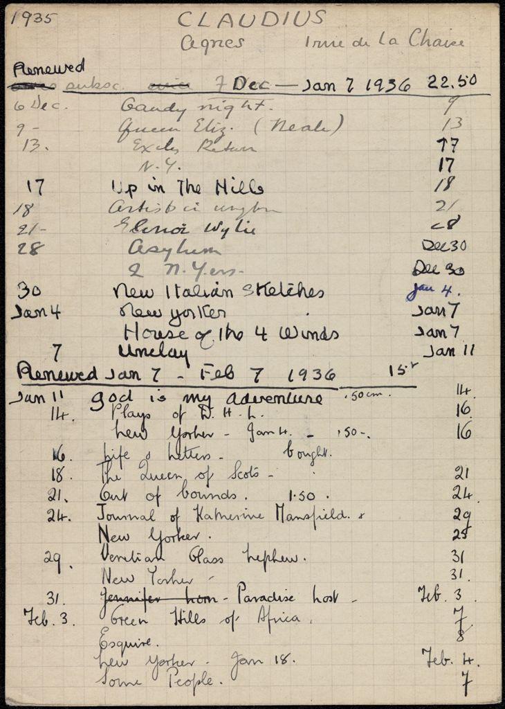 Agnes Claudius 1935 – 1936 card (large view)
