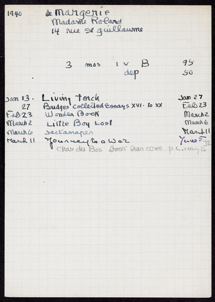 Henriette de Margerie 1940 card (large view)