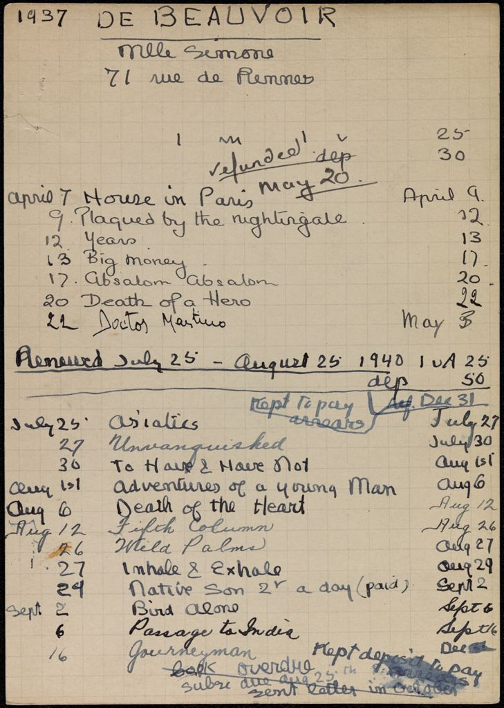 Simone de Beauvoir 1937 – 1940 card (large view)