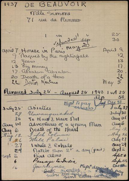 Simone de Beauvoir 1937 – 1940 card