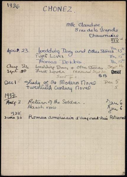 Claudine Chonez 1936 – 1938 card