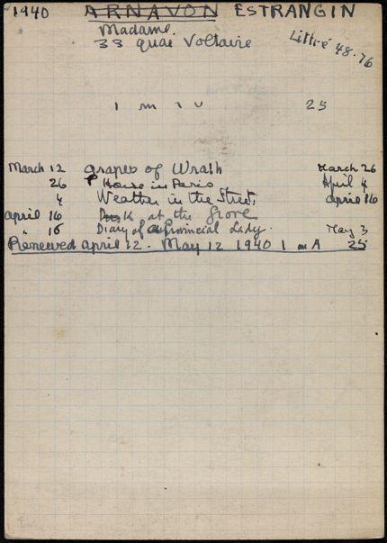 Mme Estrangin 1940 card