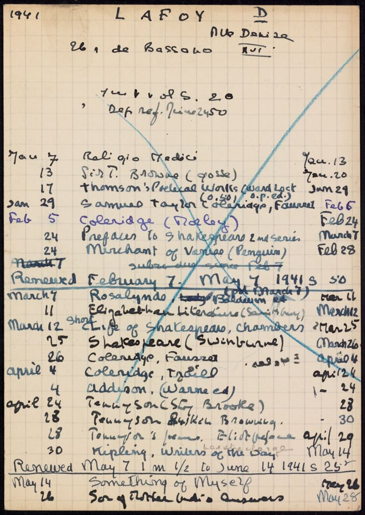 Denise Lafoy 1941 card (large view)