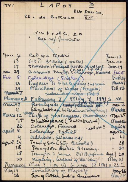 Denise Lafoy 1941 card