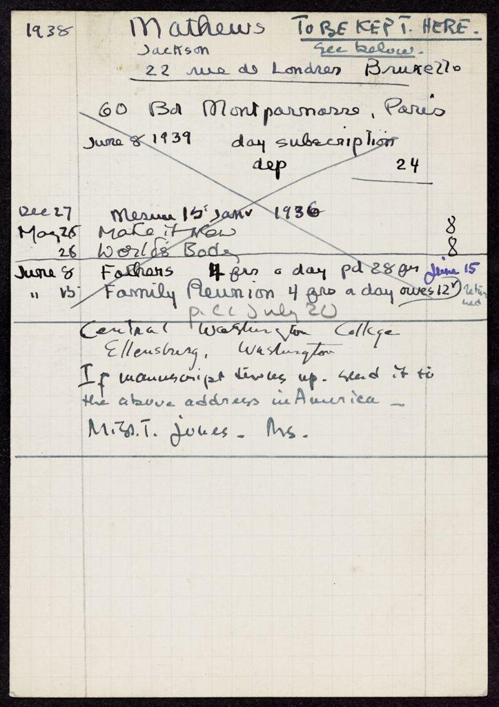 Jackson Mathews 1938 – 1939 card (large view)