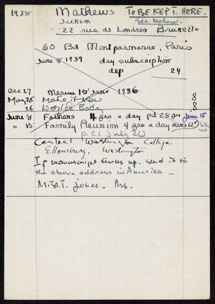 Jackson Mathews 1938 – 1939 card